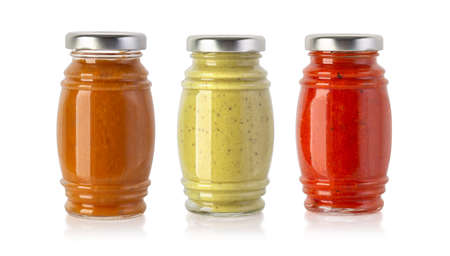 Set of bbq  sauces in glass jar isolated on white