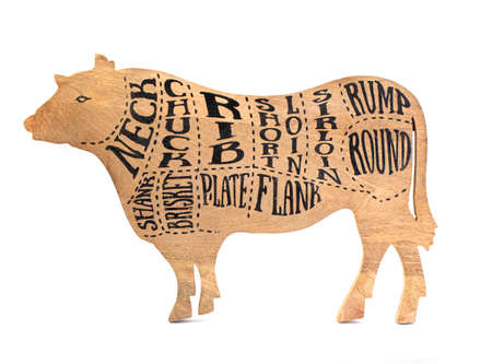 cutting board in the shape of a cow silhouette with a carcass cutting scheme isolated on white Foto de archivo
