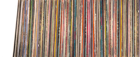 A stack of old vinyl records. close-up backgrounds Foto de archivo