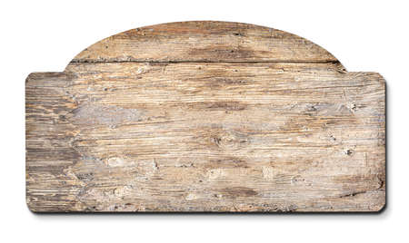 wooden blank sign on a white background Foto de archivo