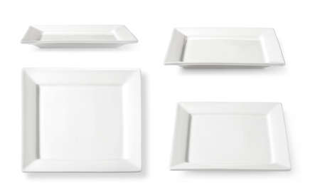 Set of a square-shaped white plate isolated on white