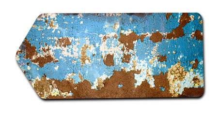 close up of an empty rusty sign on white background