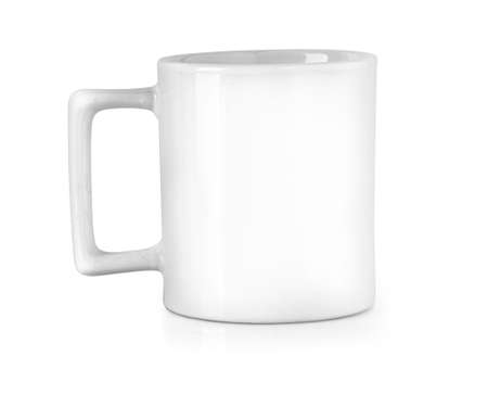 White ceramic mug. Isolated on white. Foto de archivo