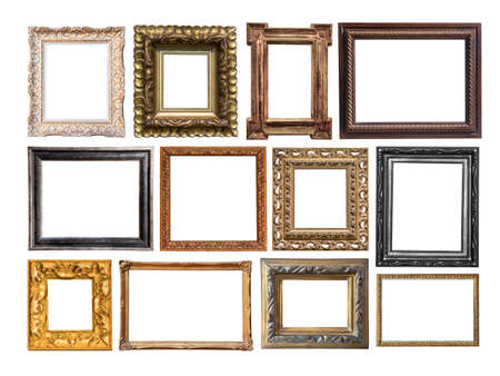 Vintage wooden carved frames isolated on white background