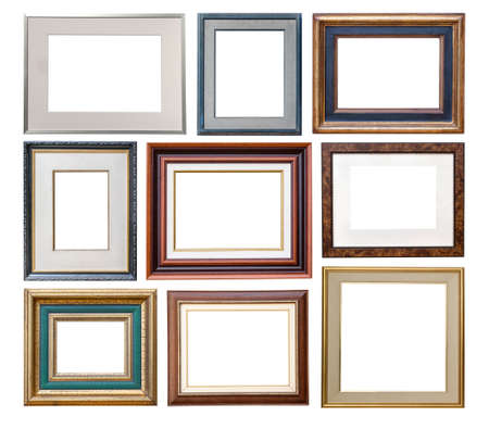 vintage frames with passepartout isolated on white background