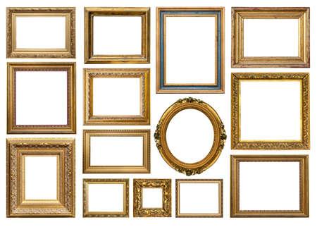old golden vintage frame isolated on white background