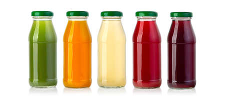 juice in glass bottle isolated on white