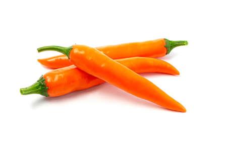orange hot pepper on white background
