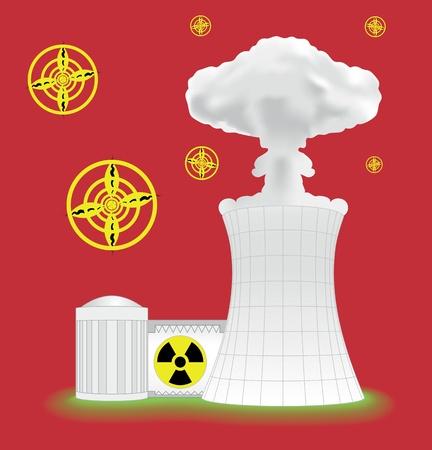 Nuclear plant with mushroom cloud Vector