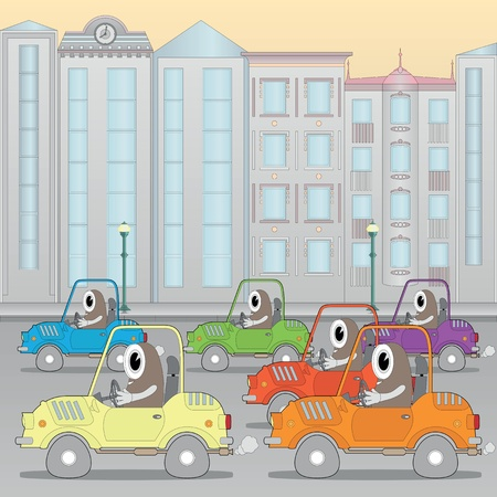 Traffic jam in the city (horizontal seamless image) Vector