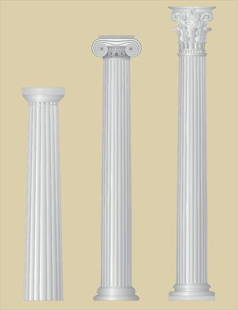 pilastri: Colonne greche con particolari Vettoriali