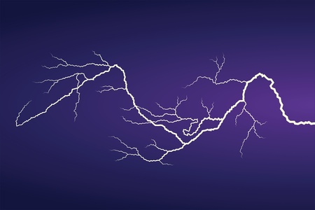 thunder storm: Horizontal vector lightning