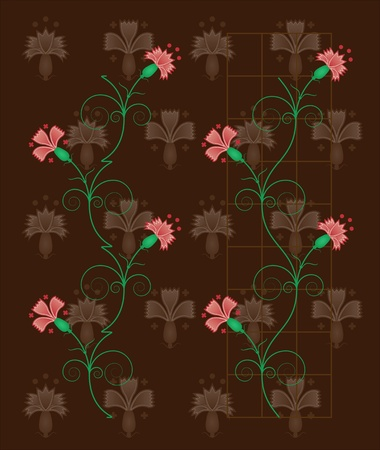 Carnations (vertical continuity patterns) Vector