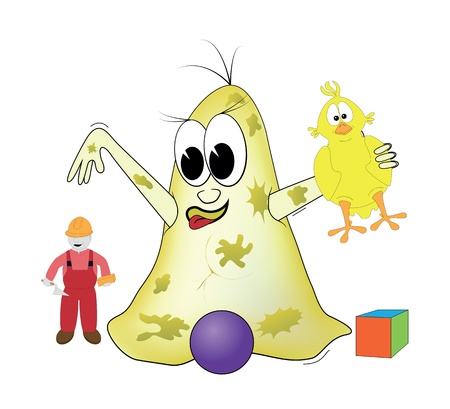 Bacteria is playing with toys Stock Vector - 9718094