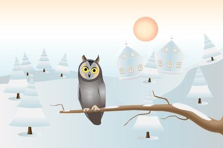 A sitting owl: Christmas card Stock Vector - 9718099