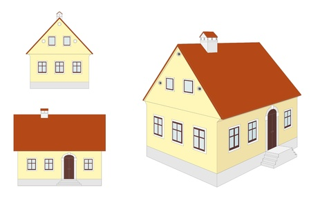 European traditional countryside house: different views Stock Vector - 9718083