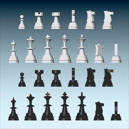chessboard: Vector chess pieces from different views Illustration