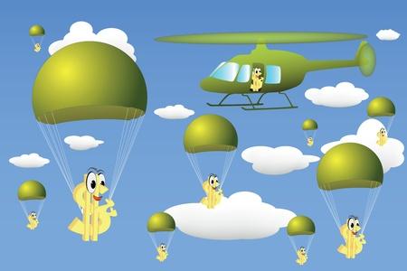 Helicopter drop of money Stock Vector - 9718096