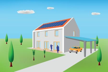 thermal power plant: Casa pasiva con paneles fotovoltaicos Vectores