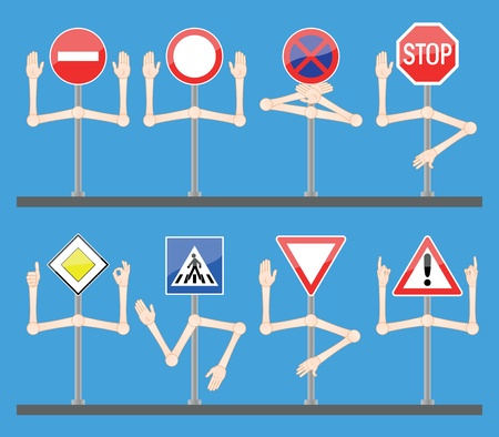 Traffic signs with hands Vector