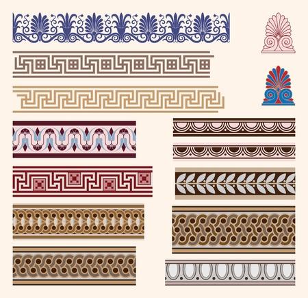 Greek border ornaments Stock Illustratie