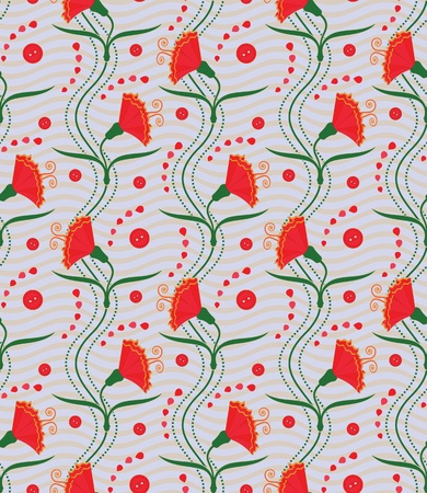 Carnations (seamless pattern) Vector