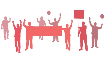 revolucionario: Protesta con pancartas para su texto Vectores