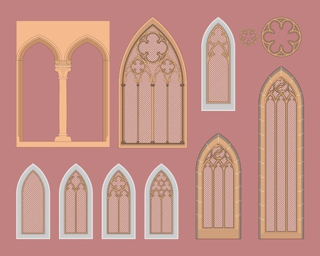 Gothic windows in central Europe Vector