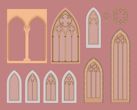 Gotische ramen in Midden-Europa Vector Illustratie