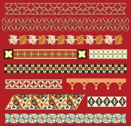 monasteri: Ornamenti di confine medievale Vettoriali