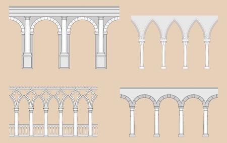 Arcades (Roman, Gothic, Venetian, Renaissance) Vector