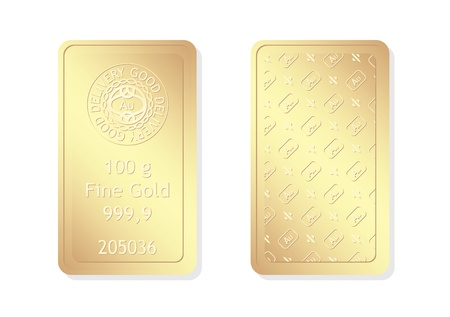 100g minted gold bar Stock Vector - 11943653