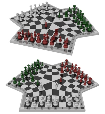 3d weird: Three-handed chess, two views Stock Photo