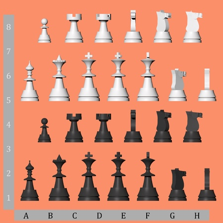 3D chess pieces from different views photo