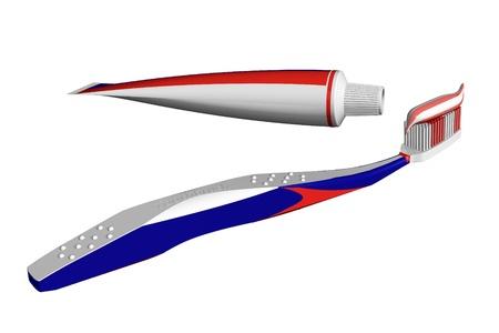 red tube: Cepillo de dientes y pasta dental Foto de archivo