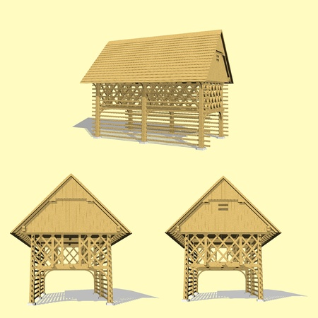 rafters: Hayrack, wooden traditional structure