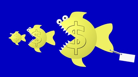 Fish eat fish - dollar eat dollar   Stock Photo - 12477553