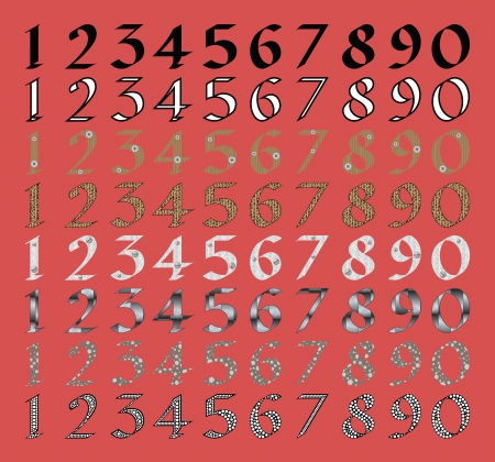 Calligraphic numeral set with different fills Stock Vector - 14166444
