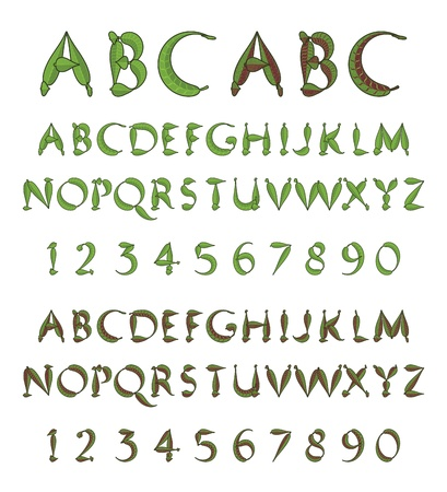 numerals: Green alphabet from leaves