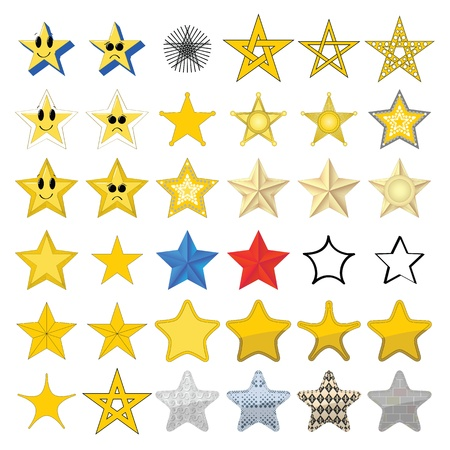 Collection of different stars 向量圖像