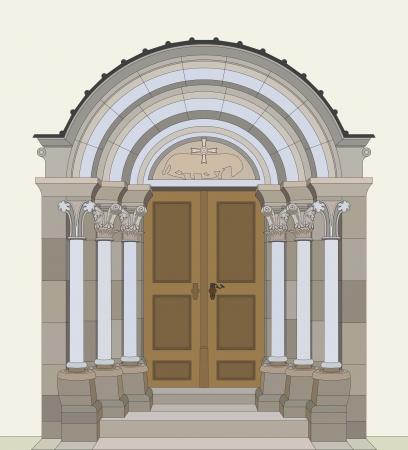 Romanesque portal Vector