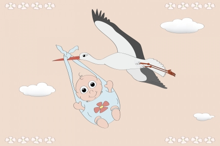 Flying stork with a newborn Vector
