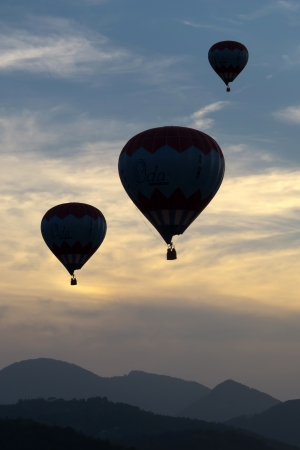 buoyancy: Silhouettes of balloons in the late evening