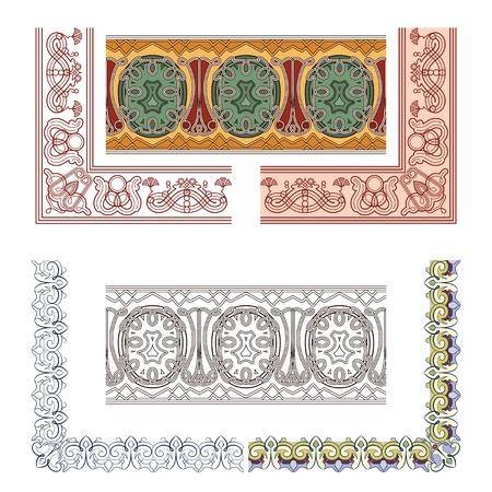 jugendstil: Art Nouveau seamless borders