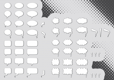 Big set of editable comic clouds or bubbles  向量圖像