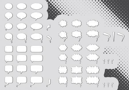 Big set of editable comic clouds or bubbles  Illustration