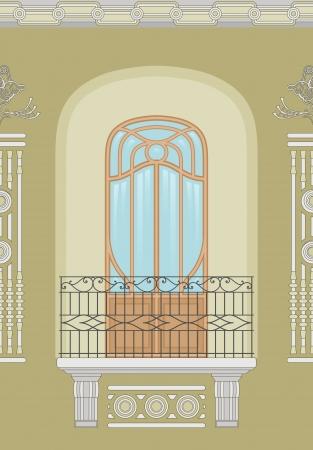 decorative balconies: Art Nouveau - seamless facade