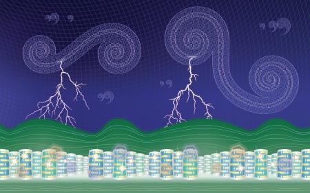 Stormy city  desktop background Stock Vector - 16458407