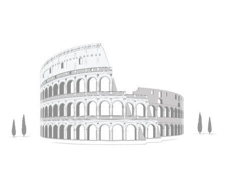 Colosseum - highly detailed drawing Vector