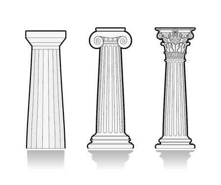 Gestileerde Griekse zuilen Vector Illustratie